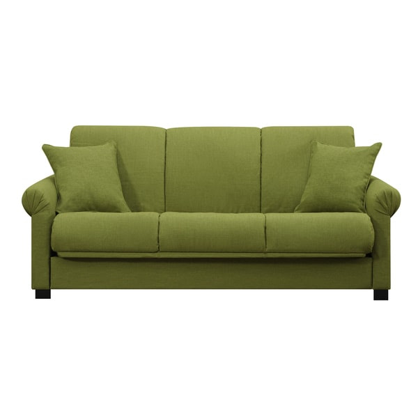 Portfolio Rio Convert-a-Couch Apple Green Linen Futon Sofa ...