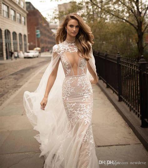 2019 Berta Lace Mermaid Wedding Dresses Detachable Cape