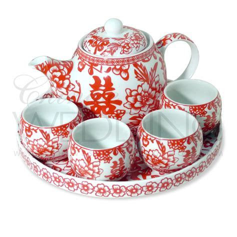 Chinese Wedding Tea Pot & Cups Set, Chinese Wedding