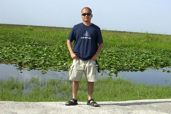 Gettin' ready to take an airboat ride at Everglades Holiday Park in Florida...on August 15, 2008.