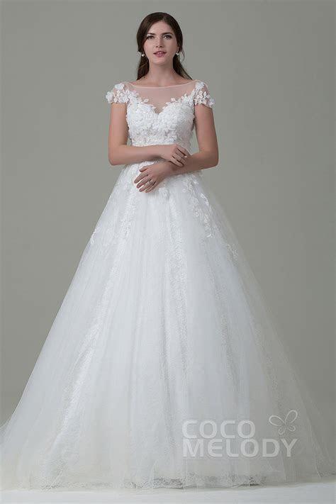 A Line Tulle Lace Open Back Wedding Dress LWAT14014