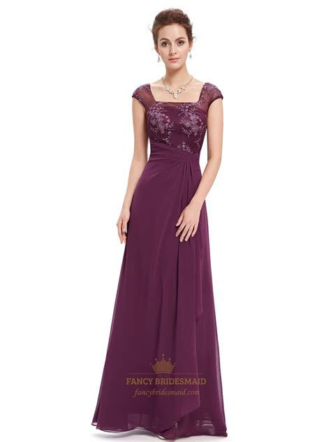 Grape Lace Bodice Cap Sleeves Chiffon Prom Dress With