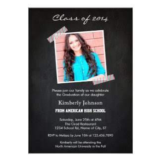 Chalkboard Photo Graduation Invitation