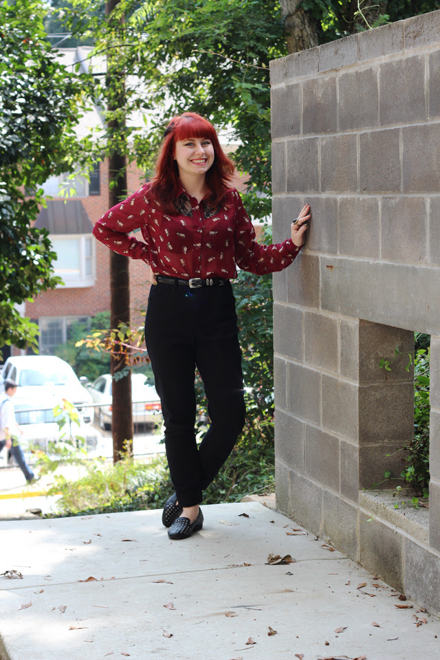 ASOS Petite Trousers, Maroon Cat Print Top, Studded Loafers