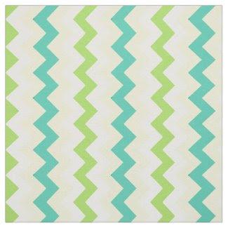Spring Sunshine Chevron Pattern Teal Green Yellow Fabric