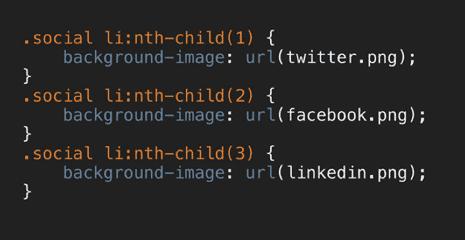 Slide showing selector as .social li:nth-child(1)