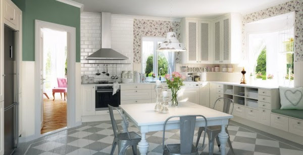 The lindo white kitchen is a charming cottage style space featuring crisp cabinetry with braided detailing