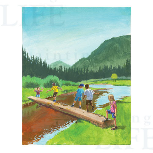 Summer: Kids Crossing a Log