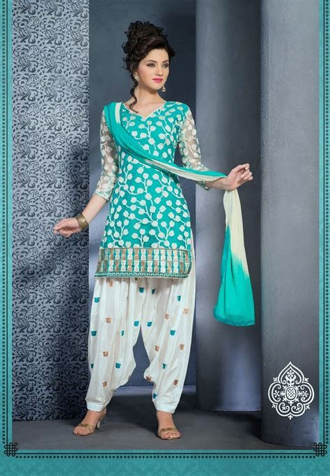 Light blue,Gold and white punjabi suit   Indian Suits