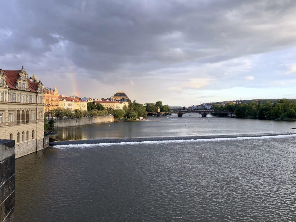 Overlooking the Vltava River from the well-known Charles            Bridge