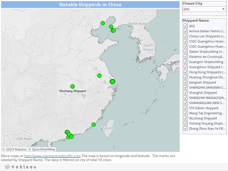 SHIPYARDS CHINA   Marine Vessel Traffic