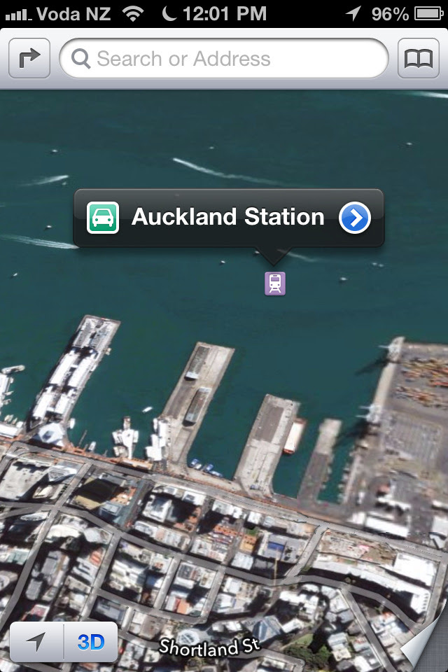 Apple didn't like where Auckland's main train station was so they moved it into the harbour.
