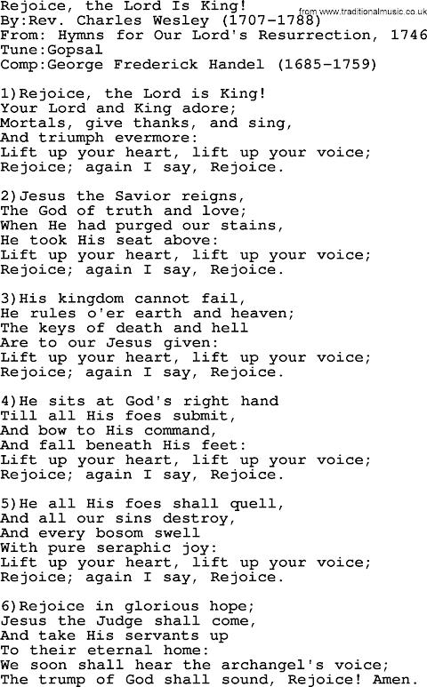 Rejoice The Lord Is King Lyrics