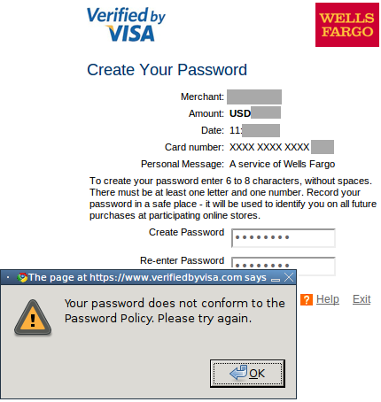 Verified by Visa Forces Users to Select Weak Passwords