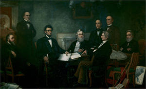 Lincoln met with his cabinet on July 22, 1862 for the first reading of a draft of the Emancipation Proclamation. Use a cursor to identify who is in the picture.