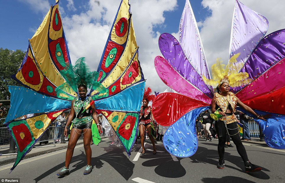 Colourful: The carnival brought a real taste of the Caribbean to Notting Hill today