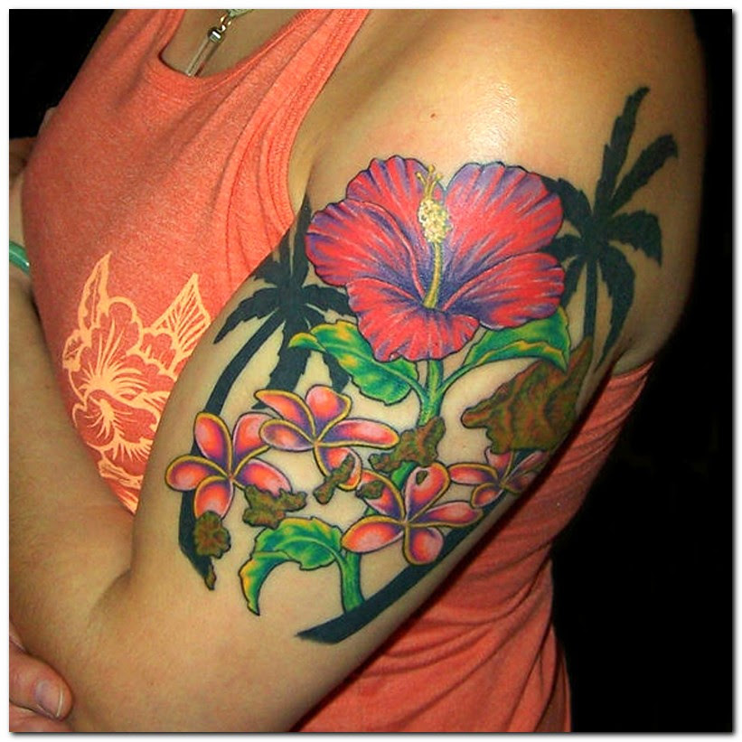 Hibiscus Flower Tattoo On Upper Arm For Women