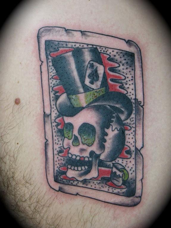 Tarot Card Of A Top Hat Skull Tattoo By Kike Castillo Tattoonow
