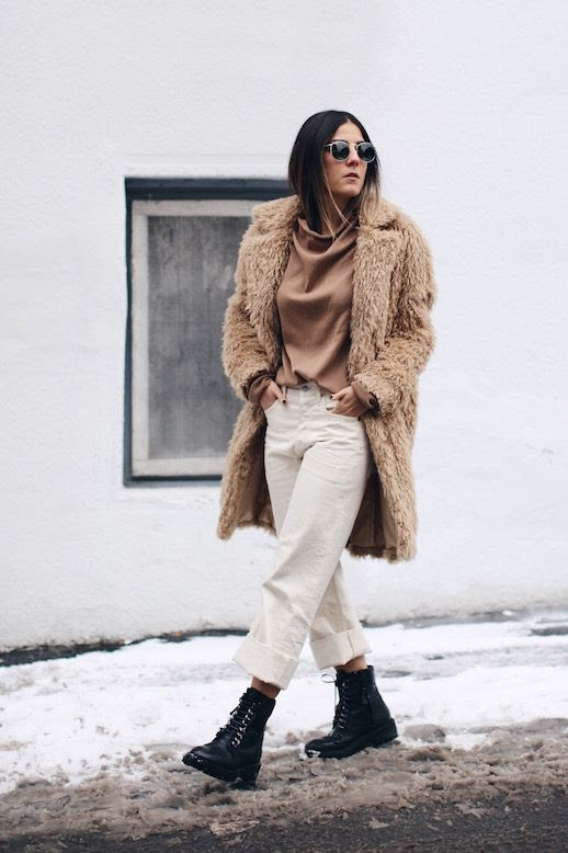 Le Fashion Blog Tan Teddy Coat Camel Sweater Ivory Straight Jeans Combat Boots Via The Fashion Medley
