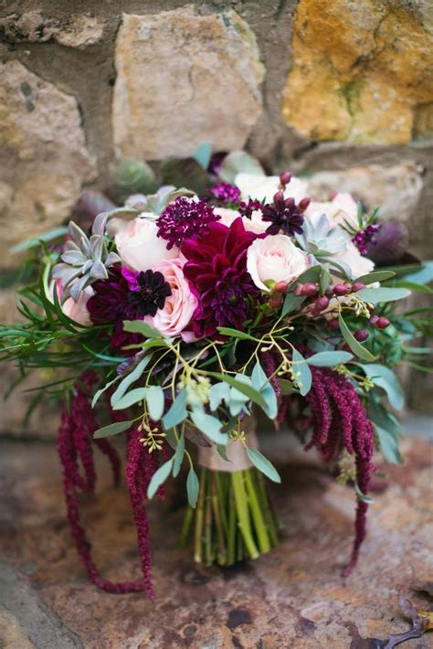 Maroon and Blush Bridal Bouquet with Kale