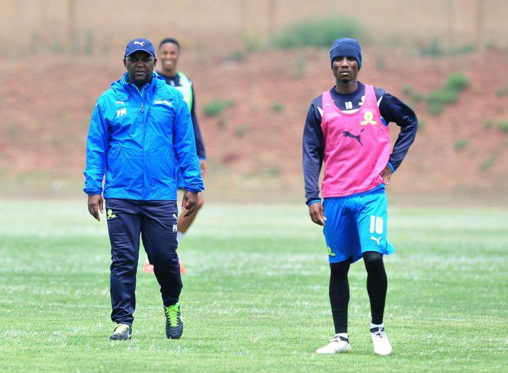 Pitso Mosimane, coach of Mamelodi Sundowns and Teko Modise of Mamelodi Sundowns during the Caf Champions League Mamelodi Sundowns media day at the Chloorkop. (Samuel Shivambu/Backpagepix)