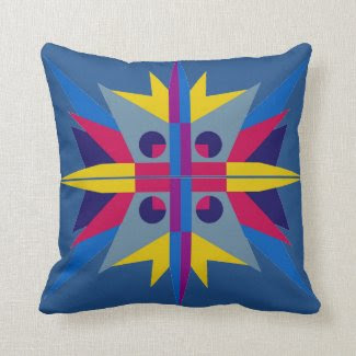 Throw Pillow with Art Deco Star Design