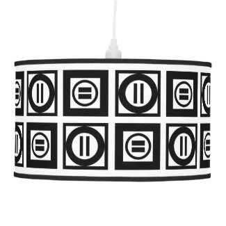 Black and White Geometric Equal Sign Pattern Pendant Lamp
