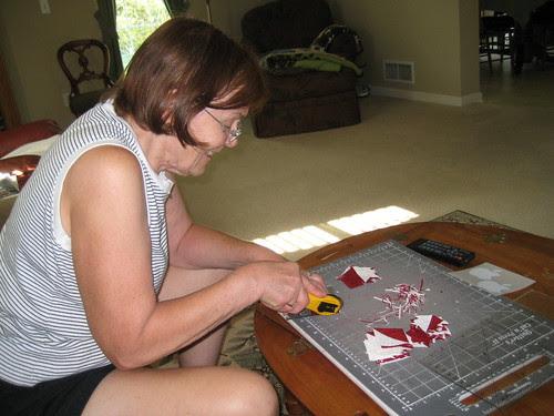 mom cutting fabric