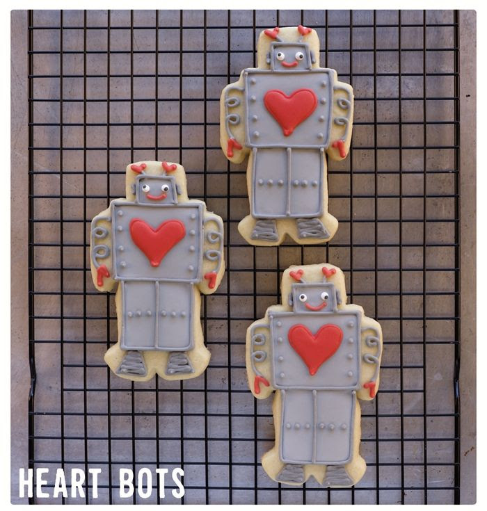 valentine robot cookies from Decorating Cookies