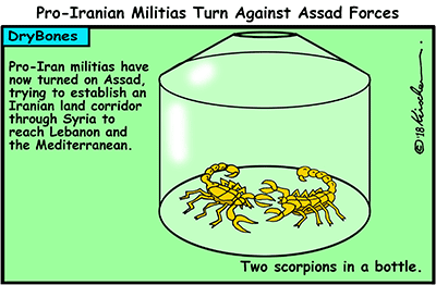 Dry Bones cartoon, Iran, Syria, Assad, militias, war,
