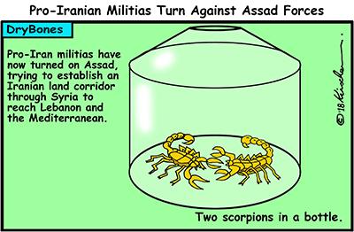 Dry Bones cartoon, Iran, Syria, Assad, militias, war,