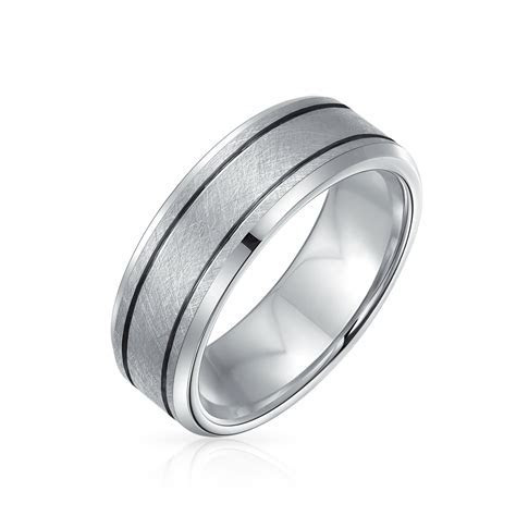 Mens Brushed Finish Grooved Beveled Tungsten Wedding Band