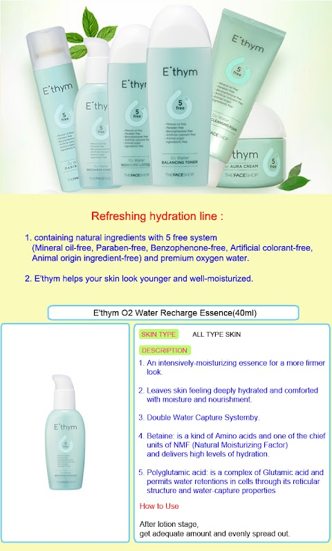 The Faceshop E'thym O2 Water Recharge Essence menjadi Masker Wajah