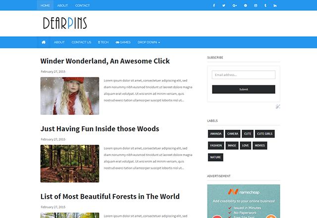 Dearpins Responsive Magazine Blogger Template