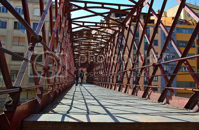 Iron Bridge Over Onyar River in Gerona, Spain
