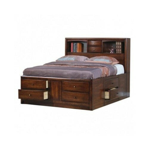 King Size Storage Bed Bookcase Headboard Drawers ...