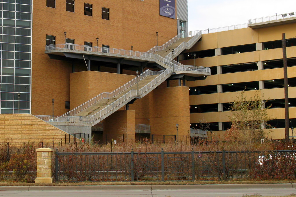 The great set of stairs attached to the Minnesota Science Museum.