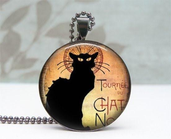 Black Cat Necklace - Glass Dome Pendant - Gunmetal