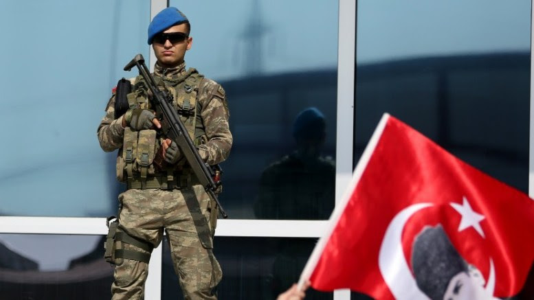 File Photo: A special forces soldier monitors the area in front of the Silivri Prison during a trial EPA, ERDEM SAHIN