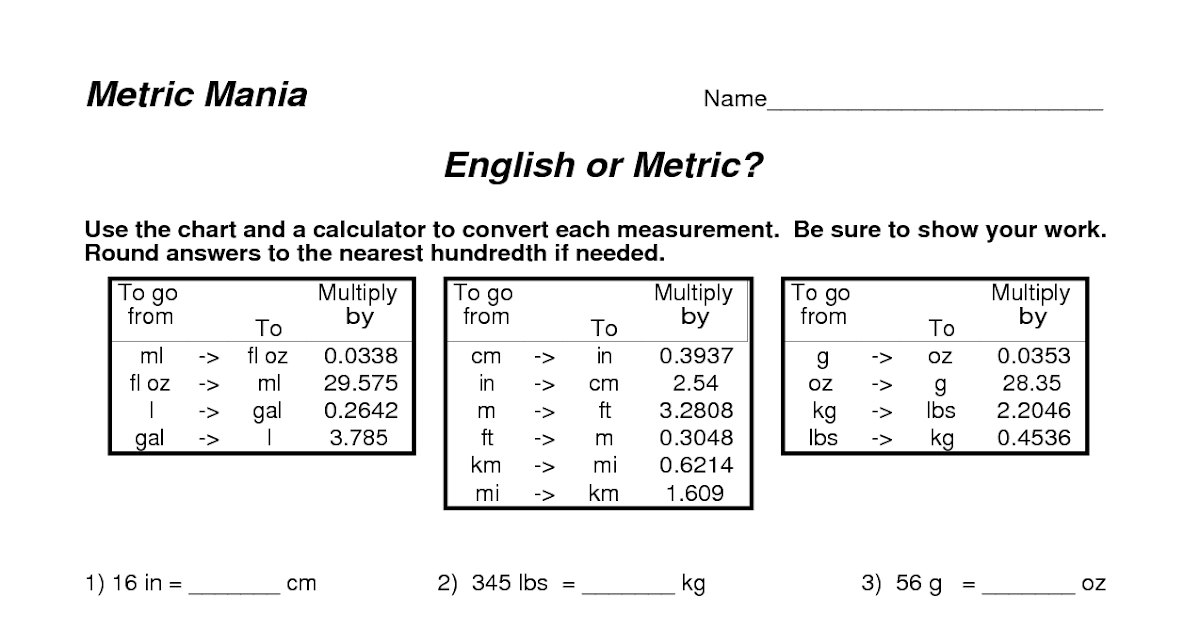 30 Converting English And Metric Worksheet Answer Key ...