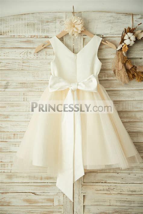 V Neck Ivory Satin Champagne Tulle Flower Girl Dress with