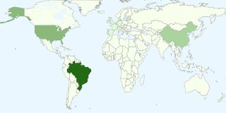 Gráfico dos países mais populares entre os visualizadores do blog