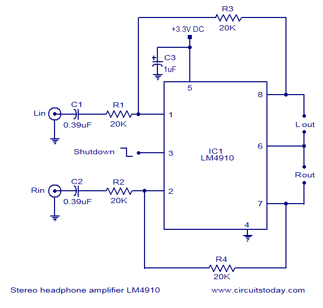 Lm4910 headphone amplifier