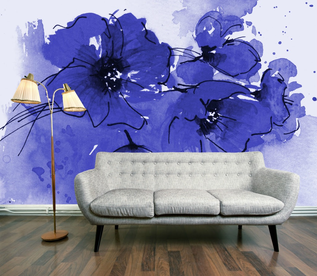 Wallpaper Wednesday: Indigo Poppy Mural by DigetexHome  Love Chic Living