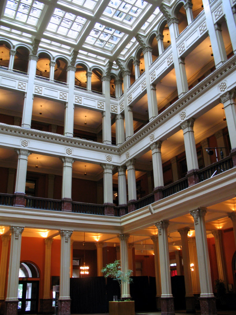 Inside photos of the Landmark Center in St Paul used natural lighting when it was first built