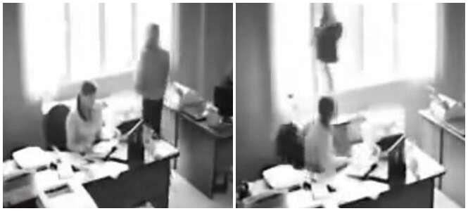 Vídeo chocante mostra momento em que funcionária de escritório salta de janela de prédio após levar bronca de seu chefe