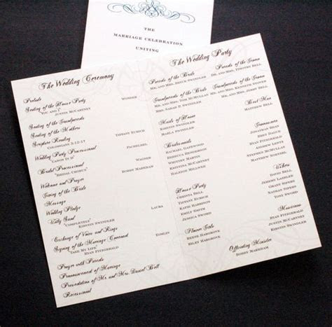 don't forget the wedding program: ceremony, wedding party
