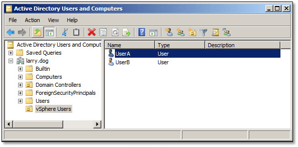 Figure 12 - Active Directory management console