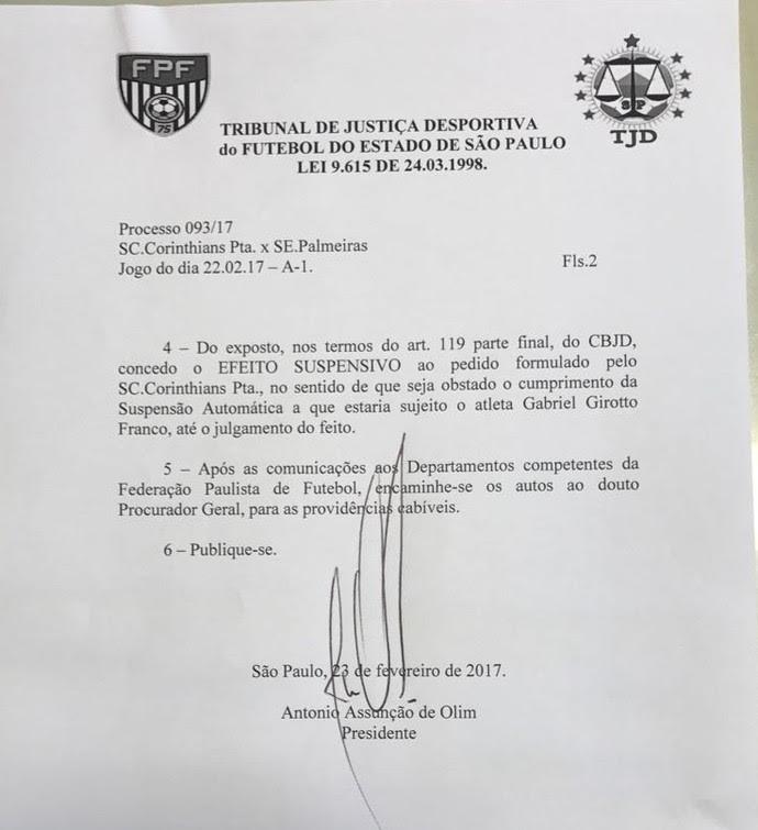Efeito suspensivo anula cartão vermelho a Gabriel Corinthians x Palmeiras (Foto: Reprodução)