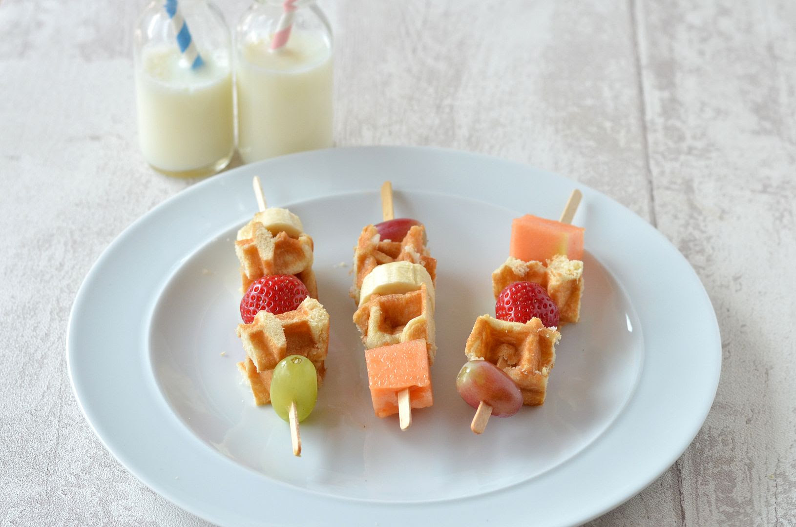 fruit waffle skewers